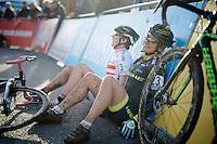 Asa Erlandsson (SWE) & Nadja Heigel (AUT) drop exhausted to the ground straight after finishing<br /> <br /> Superprestige Francorchamps 2014