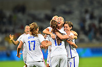 Belo Horizonte, Brazil - Wednesday, August 3, 2016: The USWNT go up 2-0 over New Zealand on a goal by Alex Morgan in Group G play during the 2016 Olympics at Mineirão stadium. Morgan Brian congratulates Alex Morgan.