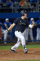 Gavin Sheets (24) of the Wake Forest Demon Deacons follows through on his swing against the Florida Gators in Game Three of the Gainesville Super Regional of the 2017 College World Series at Alfred McKethan Stadium at Perry Field on June 12, 2017 in Gainesville, Florida. The Gators defeated the Demon Deacons 3-0 to advance to the College World Series in Omaha, Nebraska. (Brian Westerholt/Four Seam Images)