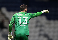 29th December 2020; Deepdale Stadium, Preston, Lancashire, England; English Football League Championship Football, Preston North End versus Coventry City; Coventry City goalkeeper Ben Wilson shouts instructions to his team mates to cover