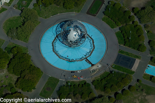 aerial photograph of the Unisphere, Flushing Meadows, Corona Park, Queens, New York