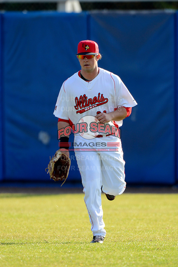 Illinois State Redbirds outfielder Eric Aguilera (33) during practice before a game against the Fairfield Stangs at Chain of Lakes Stadium on March 10, 2013 in Winter Haven, Florida.  llinois State defeated Fairfield 4-2.  (Mike Janes/Four Seam Images)