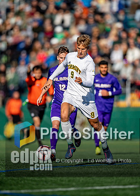 5 October 2019: University of Vermont Catamount Forward Rasmus Tobinski, a Freshman from Kiel, Germany, in action against University at Albany Great Danes, on Virtue Field in Burlington, Vermont. The Catamounts fell to the visiting Danes 3-1 in America East, Division 1 play. Mandatory Credit: Ed Wolfstein Photo *** RAW (NEF) Image File Available ***