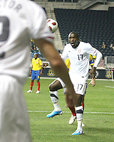 Jozy Altidore #17 of the USA MNT recieves a throw in from Jonathan Spector #2 during an international friendly match against Colombia at PPL Park, on October 12 2010 in Chester, PA. The game ended in a 0-0 tie.