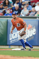 Durham Bulls first baseman Vince Belnome (30) holds a runner on during a game against the Buffalo Bisons on July 10, 2014 at Coca-Cola Field in Buffalo, New  York.  Durham defeated Buffalo 3-2.  (Mike Janes/Four Seam Images)