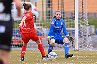 Selina Gijsbrechts (11) of Woluwe and goalkeeper Ianthe Meerschaert (31) of Zulte-Waregem  pictured during a female soccer game between FC Femina White Star Woluwe and SV Zulte Waregem on the fifth matchday of play off 2 in the 2020 - 2021 season of Belgian Scooore Womens Super League , Saturday 8 th of May 2021  in Woluwe , Belgium . PHOTO SPORTPIX.BE | SPP | DAVID CATRY