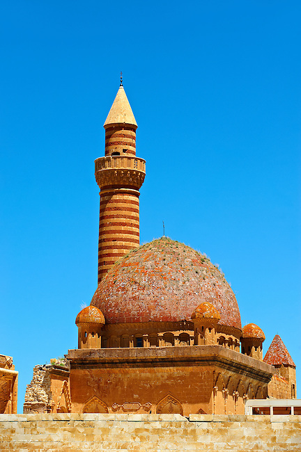 Minarete of the Mosque of the 18th Century Ottoman architecture of the Ishak Pasha Palace (Turkish: İshak Paşa Sarayı) ,  Ağrı province of eastern Turkey.