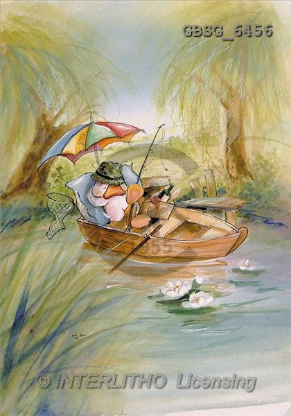 Ron, CUTE ANIMALS, Quacker, paintings, duck, boat, fishing(GBSG6456,#AC#) Enten, patos, illustrations, pinturas