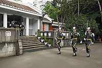 The changing of the guard at Chiang Kai Shek's mausoleum. The expense of maintaining the guards has become a controversial issue in Taiwan as the ruling Democratic Progressive Party (DPP) presented a proposal to remove honor guards from the mausoleum..19 Jun 2007