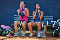 September 03, 2014,Netherlands, Alphen aan den Rijn, TEAN International, Richel Hogenkamp (NED) with her doubles partner Lesley Kerkhove (NED) (R)<br /> Photo: Tennisimages/Henk Koster