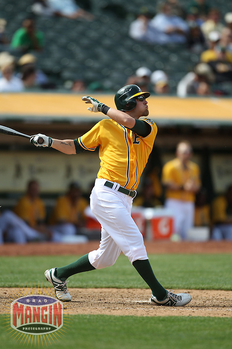 OAKLAND, CA - APRIL 25:  Josh Reddick #16 of the Oakland Athletics bats against the Chicago White Sox during the game at O.co Coliseum on Wednesday April 25, 2012 in Oakland, California. Photo by Brad Mangin