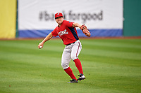 Potomac Nationals left fielder Jack Sundberg (14) throws the ball back to the infield during the first game of a doubleheader against the Salem Red Sox on June 11, 2018 at Haley Toyota Field in Salem, Virginia.  Potomac defeated Salem 9-4.  (Mike Janes/Four Seam Images)