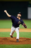 Lowell Spinners relief pitcher Andrew Politi (63) delivers a pitch during a game against the Vermont Lake Monsters on August 25, 2018 at Edward A. LeLacheur Park in Lowell, Massachusetts.  Vermont defeated Lowell 4-3.  (Mike Janes/Four Seam Images)