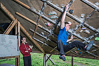 Pete Whittaker and Tom Randall train at their backyard climbing wall on 6th March 2017, Sheffield, United Kingdom