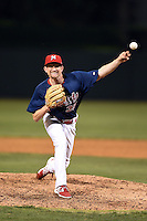 Memphis Redbirds pitcher Dean Kiekhefer (35) delivers a pitch during a game against the Oklahoma City RedHawks on May 23, 2014 at AutoZone Park in Memphis, Tennessee.  Oklahoma City defeated Memphis 12-10.  (Mike Janes/Four Seam Images)