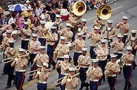 FIESTA PARADE. MARINE MARCHING BAND. SAN ANTONIO TEXAS USA.