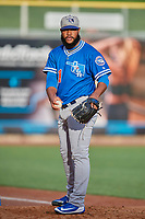 Oklahoma City Dodgers starting pitcher Daniel Corcino (31) before the game against the Salt Lake Bees at Smith's Ballpark on July 31, 2019 in Salt Lake City, Utah. The Dodgers defeated the Bees 5-3. (Stephen Smith/Four Seam Images)