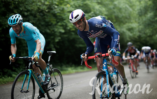 Kenny Dehaes (BEL/Wanty-Groupe Gobert) & Laurens De Vreese (BEL/Astana) struggling up the steepest hill on the course<br /> <br /> Belgian National Road Cycling Championships 2016<br /> Les Lacs de l'Eau d'Heure