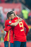 Spain's Jordi Alba and Spain's Rodrigo Moreno celebrate goal  during the qualifying match for Euro 2020 on 23th March, 2019 in Valencia, Spain. (ALTERPHOTOS/Alconada)