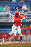 Williamsport Crosscutters left fielder Juan Luis (17) at bat during a game against the Batavia Muckdogs on September 1, 2016 at Dwyer Stadium in Batavia, New York.  Williamsport defeated Batavia 10-3. (Mike Janes/Four Seam Images)