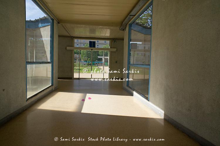 Empty corridor at public hospital, Marseille, France