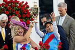 MAY 01, 2021: John Velazquez and wife Leona celebrate his 4th Derby Victory after winning the 2021 Kentucky Derby at Churchill Downs in Louisville, Kentucky on May 1, 2021. EversEclipse Sportswire/CSM