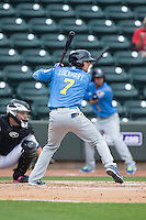 Daniel Lockhart (7) of the Myrtle Beach Pelicans at bat against the Winston-Salem Dash at BB&T Ballpark on May 10, 2015 in Winston-Salem, North Carolina.  The Pelicans defeated the Dash 4-3.  (Brian Westerholt/Four Seam Images)
