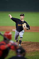 West Virginia Black Bears relief pitcher Adam Oller (38) delivers a pitch during a game against the Batavia Muckdogs on August 7, 2017 at Dwyer Stadium in Batavia, New York.  West Virginia defeated Batavia 6-3.  (Mike Janes/Four Seam Images)