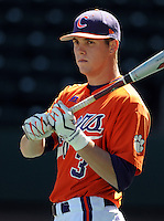 Clemson outfielder Jeff Schaus (3) prior to a game between the Clemson Tigers and South Carolina Gamecocks Saturday, March 6, 2010, at Fluor Field at the West End in Greenville, S.C. Photo by: Tom Priddy/Four Seam Images