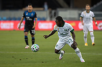 SAN JOSE, CA - SEPTEMBER 16: Yammi Chara of the Portland Timbers controls the ball during a game between Portland Timbers and San Jose Earthquakes at Earthquakes Stadium on September 16, 2020 in San Jose, California.