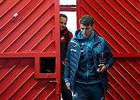 Tom Carroll of Swansea City arrives at Old Trafford prior to the Premier League match between Manchester United and Swansea City at the Old Trafford, Manchester, England, UK. Saturday 31 March 2018