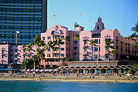 Looking at the Royal Hawaiian Hotel from the water, Waikiki, Honolulu