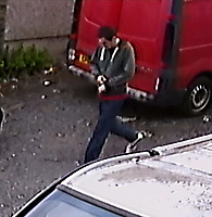 COPY BY TOM BEDFORD<br /> Pictured: CCTV which shows Dylan Hywel Harries walking past Panteg Garage in Llanelli<br /> Re: Dylan Hywel Harries has been jailed for a minimum of 27 years by Swansea Crown Court, after a jury found him guilty of murdering 19 year old Katrina Evemy following an incident in Llanelli, Carmarthenshire, Wales, on the evening of Thursday the 13th April 2017.