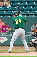 David Rohm (34) of the Lynchburg Hillcats at bat against the Winston-Salem Dash at BB&T Ballpark on August 5, 2013 in Winston-Salem, North Carolina.  The Dash defeated the Hillcats 5-0.  (Brian Westerholt/Four Seam Images)