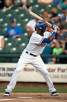Round Rock Express outfielder Julio Borbon #20 at bat during first inning of the Pacific Coast League baseball game against the New Orleans Zephyrs on April 30, 2012 at The Dell Diamond in Round Rock, Texas. The Zephyrs defeated the Express 5-3. (Andrew Woolley / Four Seam Images)