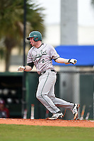 Slippery Rock Alex Bell (14) during a game against the University of the Sciences Devils on March 6, 2015 at Jack Russell Field in Clearwater, Florida.  Slippery Rock defeated University of the Sciences 6-3.  (Mike Janes/Four Seam Images)