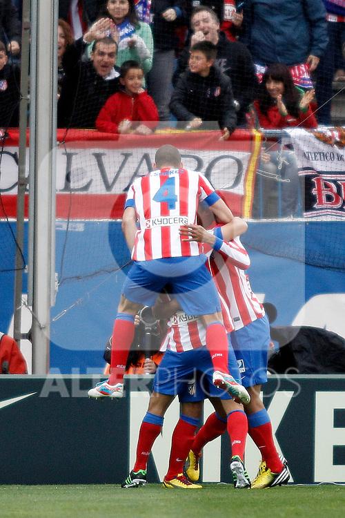 Atletico's team celebrates goal during La Liga BBVA match. April 27, 2013.(ALTERPHOTOS/Alconada)