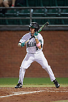 Stetson Hatters left fielder Jacob Koos (1) during a game against the Siena Saints on February 23, 2016 at Melching Field at Conrad Park in DeLand, Florida.  Stetson defeated Siena 5-3.  (Mike Janes/Four Seam Images)