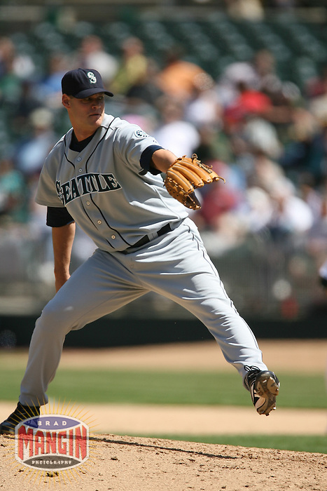OAKLAND, CA - April 26:  Chris Reitsma of the Seattle Mariners pitches during the game against the Oakland Athletics at the McAfee Coliseum in Oakland, California on April 26, 2007.  The Mariners defeated the Athletics 4-2.  Photo by Brad Mangin