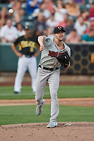 Nashville Sounds starting pitcher James Naile (22) throws to first base against the Salt Lake Bees at Smith's Ballpark on July 28, 2018 in Salt Lake City, Utah. The Bees defeated the Sounds 11-6. (Stephen Smith/Four Seam Images)