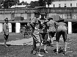 Petersburg VA:  Soldiers pitching a tent at boot camp, 80th Division encampment.