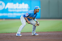 Myrtle Beach Pelicans shortstop Gleyber Torres (11) on defense against the Winston-Salem Dash at BB&T Ballpark on April 18, 2016 in Winston-Salem, North Carolina.  The Pelicans defeated the Dash 6-4.  (Brian Westerholt/Four Seam Images)
