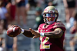 Florida State quarterback Deondre Francois throws against Northern Illinois University on September 22, 2018 in Tallahassee, Florida.  The Seminoles defeated the Huskies 37-19.
