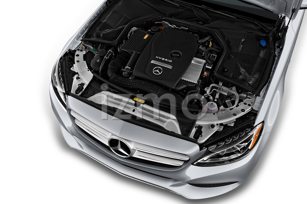 Car stock 2018 Mercedes Benz C-Class Sedan C350e Plug-in Hybrid 4 Door Sedan engine high angle detail view