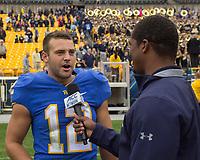 Pitt kicker Chris Blewitt gets interviewed after the game-winning field goal. The Pitt Panthers defeated the Georgia Tech Yellow Jackets 37-34 at Heinz Field in Pittsburgh, Pennsylvania on October 08, 2016.