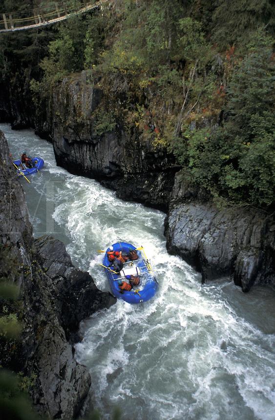White Water Rafting on Six Mile Creek, Kenai Peninsula, Alaska.