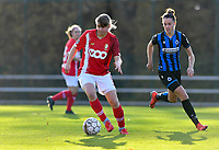 Aster Janssens  of Standard (5) pictured with Charlotte Laridon (15 Brugge) during a female soccer game between Standard Femina de Liege and Club Brugge YLA on the seventh matchday of the 2020 - 2021 season of Belgian Scooore Womens Super League , saturday 14 th of November 2020  in Angleur , Belgium . PHOTO SPORTPIX.BE | SPP | DAVID CATRY