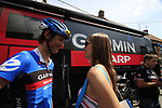 Johan Van Summeren (BEL) Garmin-Sharp and his girl Jasmine Vangrieken outside the team bus before the start of Stage 3 of the 99th edition of the Tour de France 2012, running 197km from Orchies to Boulogne-sur-Mere, France. 3rd July 2012.<br /> (Photo by Eoin Clarke/NEWSFILE)