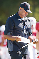 STANFORD,CA-- August 24, 2013: David Shaw, head coach, during the open practice at the Dan Elliott Practice Field Saturday.<br /> <br /> It was part the Stanford Football 2013 Open House.