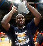 Caja Laboral Baskonia's Milt Palacio celebrates the victory in the ACB Finals. June 15,2010. (ALTERPHOTOS/Acero)